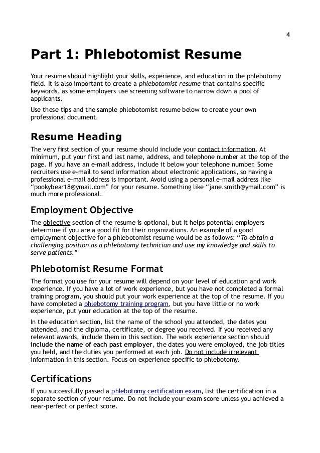 11 13; 4. 4Part 1: Phlebotomist ResumeYour Resume ...  Phlebotomist Resume