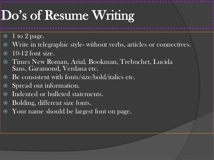 20 dos of resume - Resume Font Size And Style