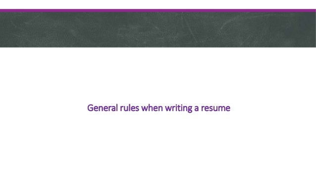 CHRONOLOGICAL FUNCTIONAL; 7. General Rules When Writing ...