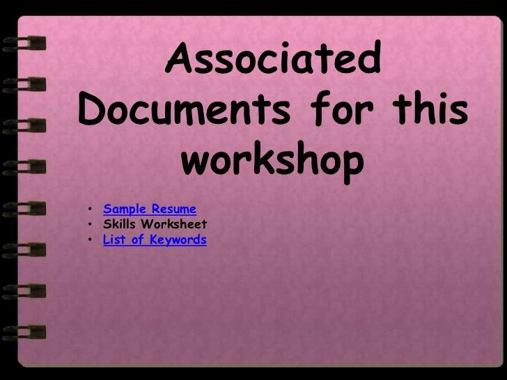 ... Or Unusual Font; 12.  Resume Writing Worksheet