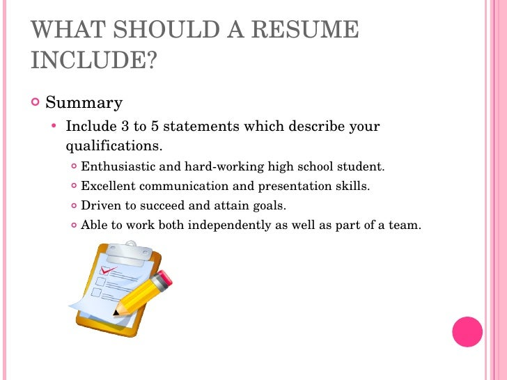 resume writing high school