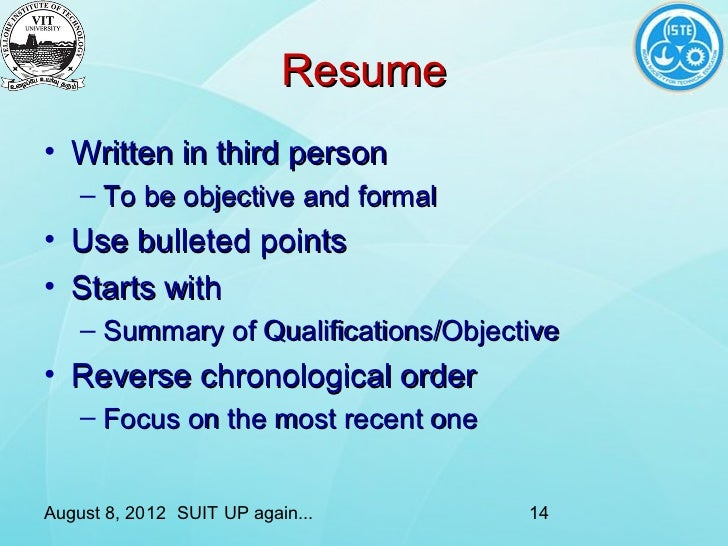 writing a resume in 3rd person