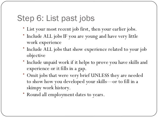 how to list jobs on resume