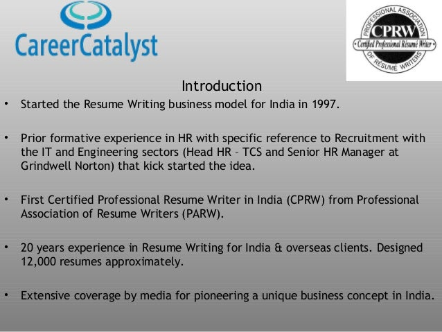 introduction started the resume writing business model for india in 1997 - Resume Writing Certification India