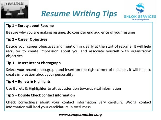 Awesome ... 4. Www.campusmasters.org Resume Writing Tips ... Within Tips For Making A Resume