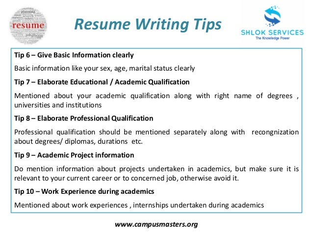 ... 5. Www.campusmasters.org Resume Writing Tips ...  Cover Letter Writing Tips