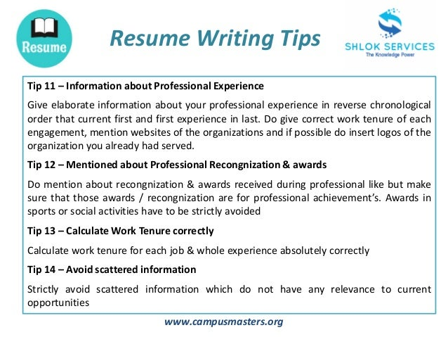 ... 6. Www.campusmasters.org Resume Writing Tips ...