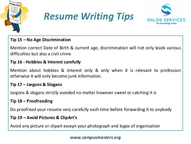 7 wwwcampusmastersorg resume writing tips