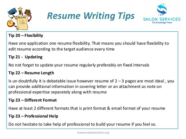 ... 8. Www.campusmasters.org Resume Writing Tips ...  Resume Tips