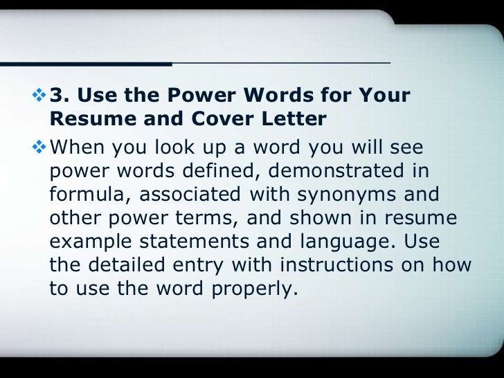 Resume Writing With The Free Online Resume Dictionary The Smart Way T .