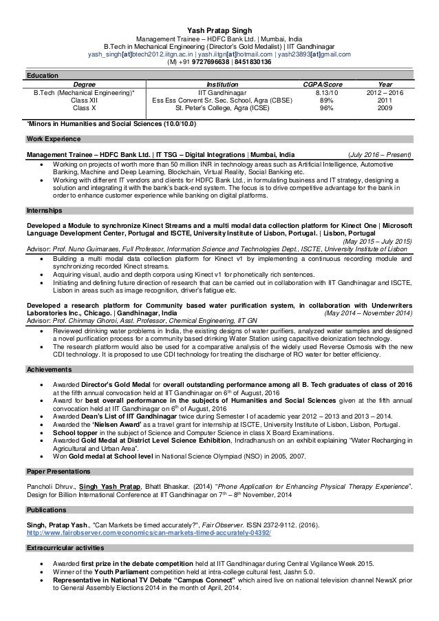 Resume - Yash Pratap Singh - 4th April, 2017