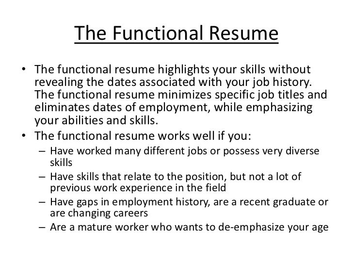 The Chronological Resume; 10. The Functional ...