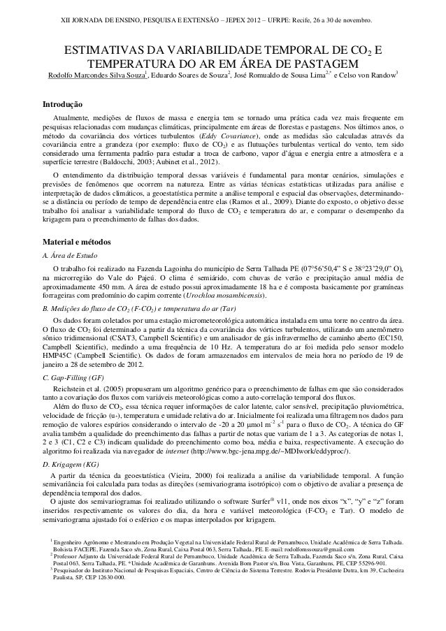 XII JORNADA DE ENSINO, PESQUISA E EXTENSÃO – JEPEX 2012 – UFRPE: Recife, 26 a 30 de novembro.         ESTIMATIVAS DA VARIA...
