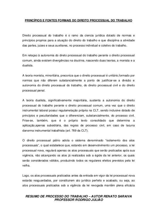 RESUMO DE PROCESSO DO TRABALHO – AUTOR RENATO SARAIVA PROFESSOR RODRIGO JULIÃO PRINCÍPIOS E FONTES FORMAIS DO DIREITO PROC...