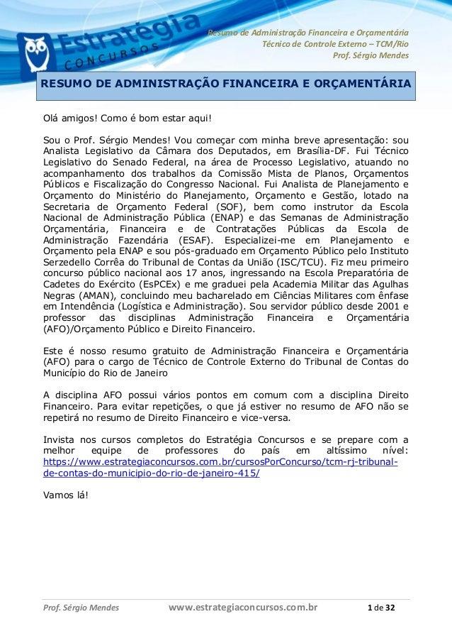 Resumo de Administração Financeira e Orçamentária Técnico de Controle Externo – TCM/Rio Prof. Sérgio Mendes Prof. Sérgio M...