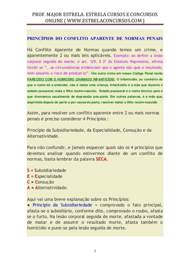 PROF. MAJOR ESTRELA. ESTRELA CURSOS E CONCURSOS  ONLINE ( WWW.ESTRELACONCURSOS.COM )  1  PRINCÍPIOS DO CONFLITO APARENTE D...