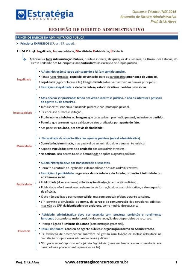 Concurso Técnico INSS 2016 Resumão de Direito Administrativo Prof. Erick Alves Prof. Erick Alves www.estrategiaconcursos.c...