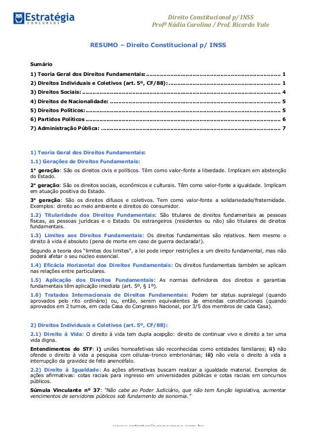 Direito  Constitucional  p/  INSS   Profª  Nádia  Carolina  /  Prof.  Ricardo Vale     www.estrategi...