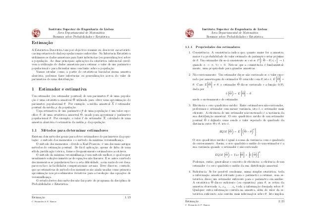 Instituto Superior de Engenharia de Lisboa Área Departamental de Matemática Resumos sobre Probabilidades e Estatística Est...