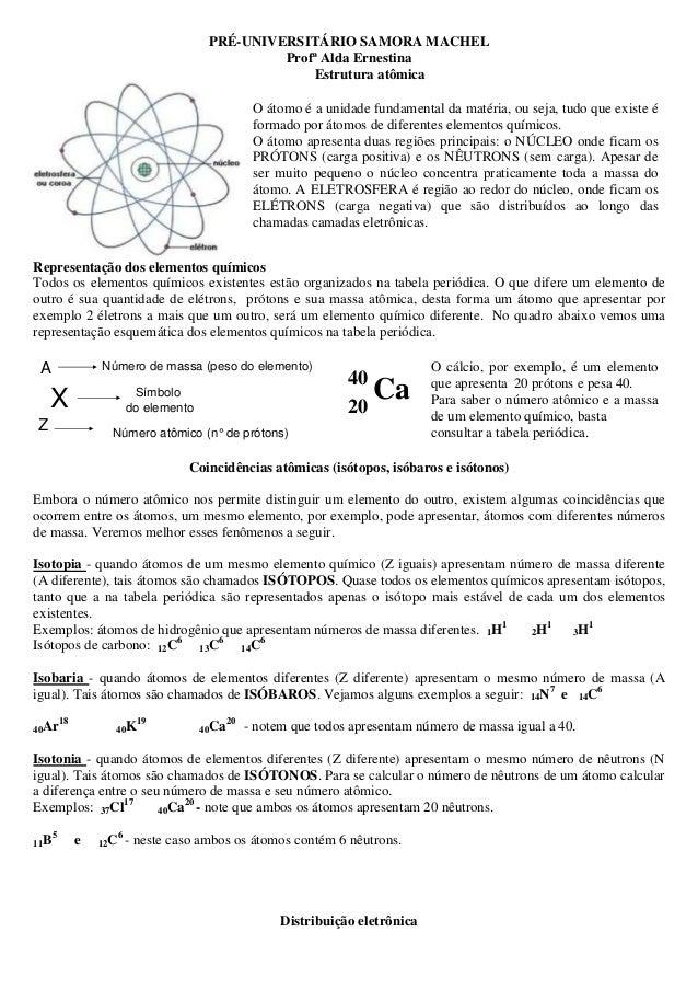 Resumo Estrutura Atômica E Distribuição Eletrônica