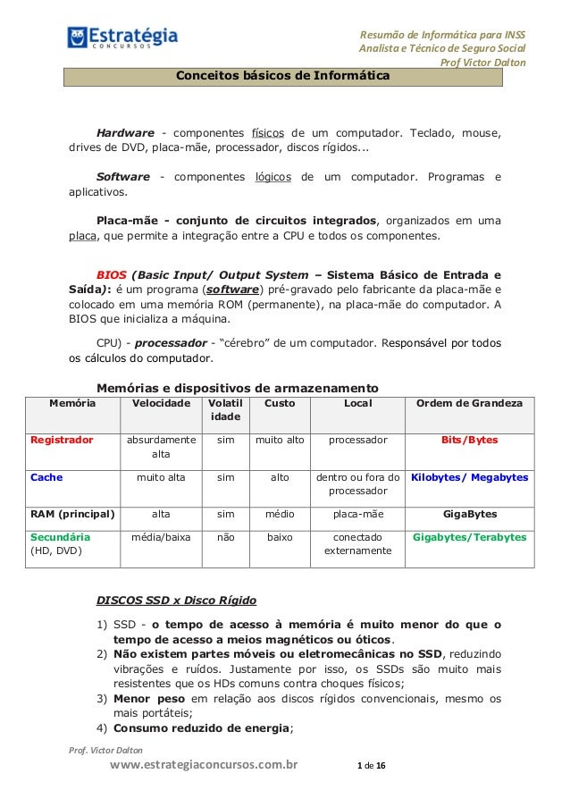 Resumão de Informática para INSS Analista e Técnico de Seguro Social Prof Victor Dalton Prof. Victor Dalton www.estrategia...