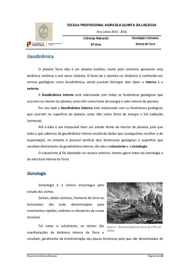 Resumo de Ciências Naturais Página 1 de 10 ESCOLA PROFISSIONAL AGRICOLA QUINTA DA LAGEOSA Ano Letivo 2015 - 2016 Ciências ...
