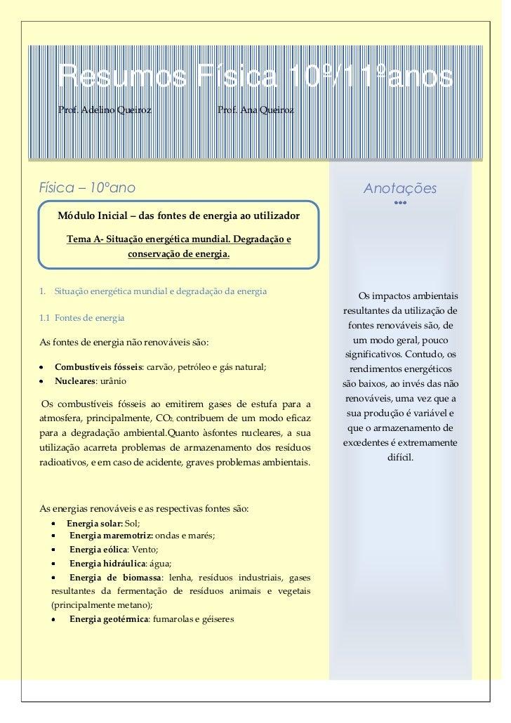 Resumos Física 10º/11ºanos    Prof. Adelino Queiroz                   Prof. Ana QueirozFísica – 10ºano                    ...