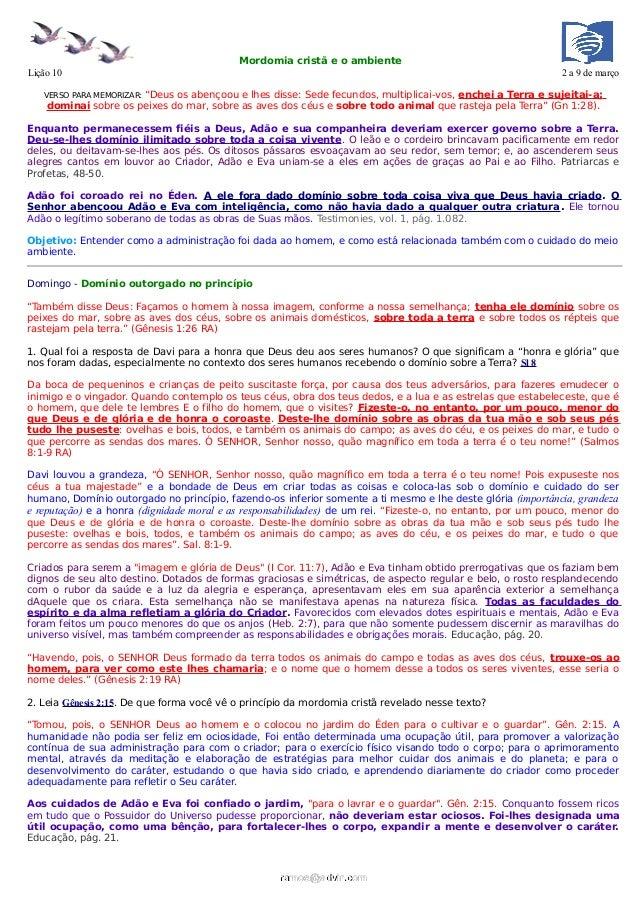 Mordomia cristã e o ambienteLição 10                                                                                      ...