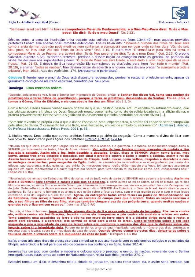 Lição 1 - Adultério espiritual (Oseias)                                                                 30 de março a 6 de...