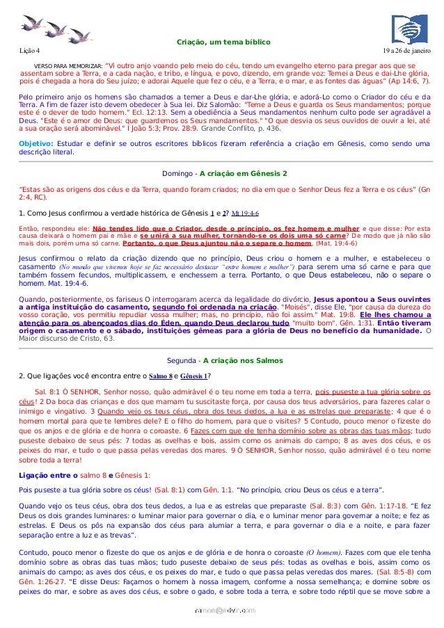 Criação, um tema bíblicoLição 4                                                                                           ...