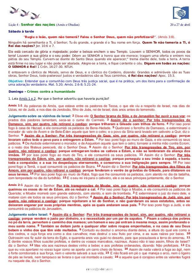 Lição 4 - Senhor das nações (Amós e Obadias)                                                                  20 a 27 de a...