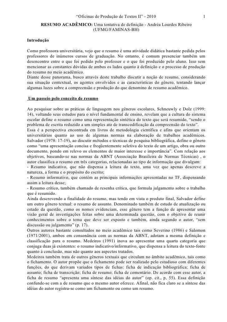 """""""Oficinas de Produção de Textos II"""" - 2010                           1       RESUMO ACADÊMICO: Uma tentativa de definição ..."""