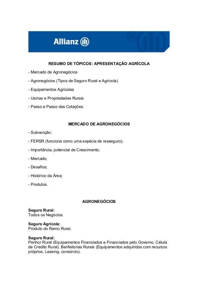 RESUMO DE TÓPICOS: APRESENTAÇÃO AGRÍCOLA- Mercado de Agronegócios- Agronegócios (Tipos de Seguro Rural e Agrícola)- Equipa...