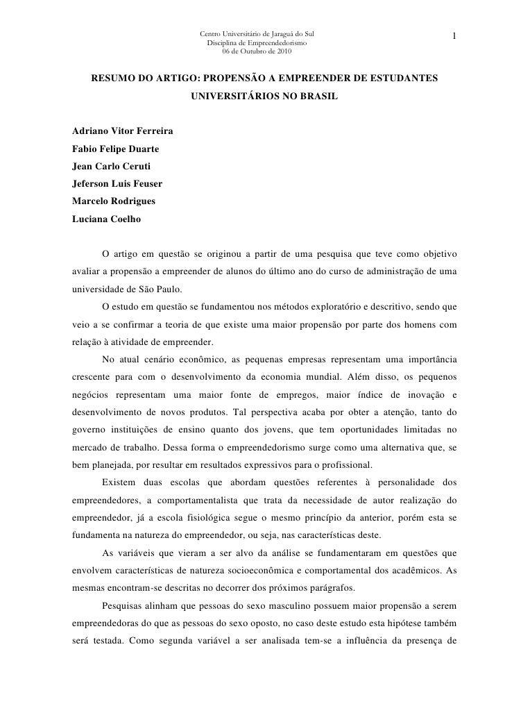 Síntese do artigo: Propensão a empreender de estudantes universitários no Brasil