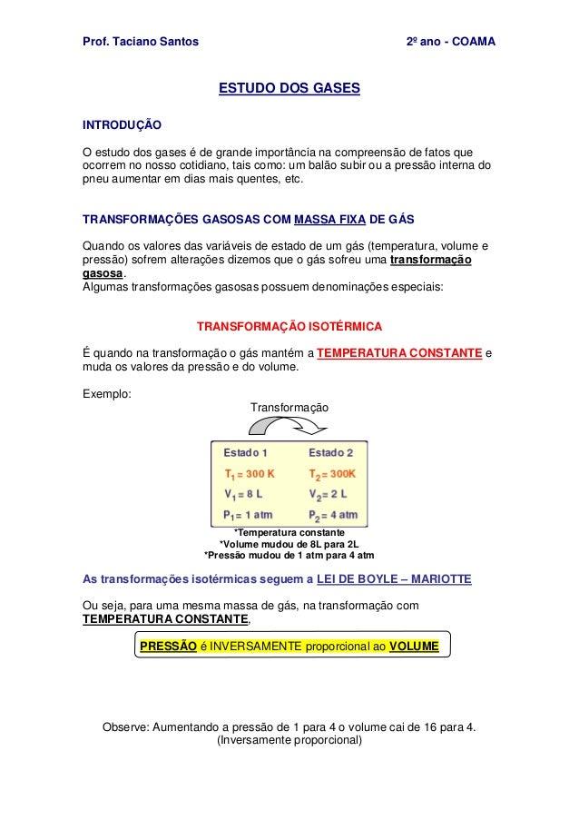 Prof. Taciano Santos 2º ano - COAMA ESTUDO DOS GASES INTRODUÇÃO O estudo dos gases é de grande importância na compreensão ...