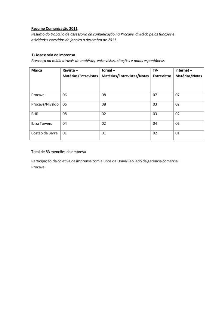 Resumo Comunicação 2011Resumo do trabalho de assessoria de comunicação na Procave dividido pelas funções eatividades exerc...