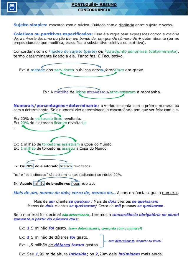 PORTUGUÊS- RESUMO CONCORDÂNCIA Sujeito simples: concorda com o núcleo. Cuidado com a distância entre sujeito e verbo. Cole...