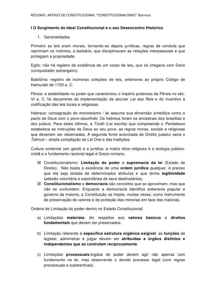 """RESUMO: ARTIGO DE CONSTITUCIONAL """"CONSTITUCIONALISMO"""" BarrosoI O Surgimento do Ideal Constitucional e o seu Desencontro Hi..."""