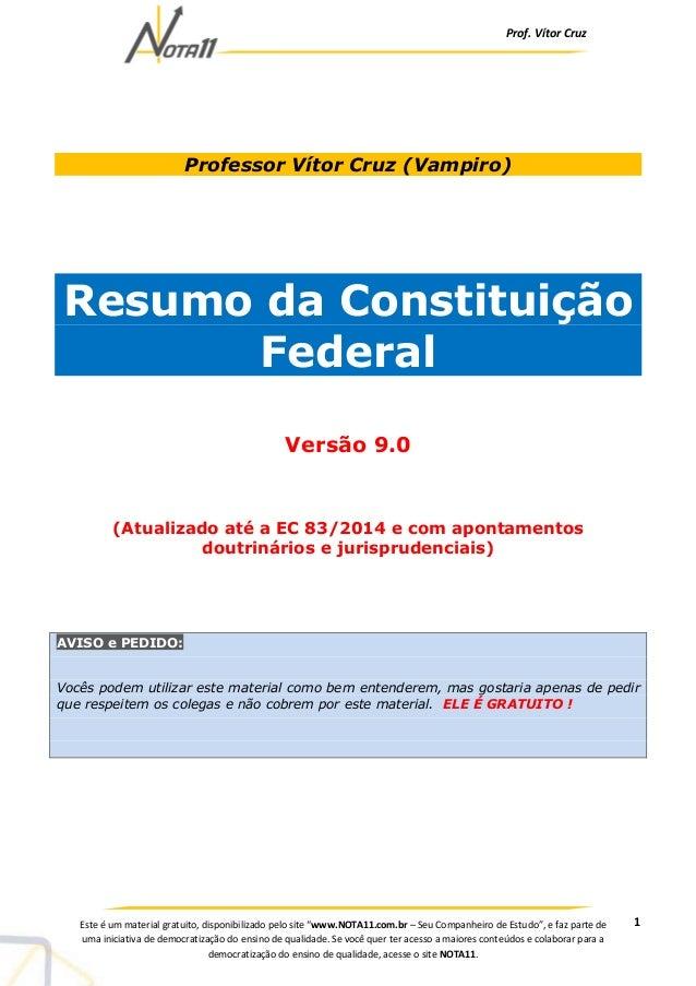 """Prof. Vítor Cruz 1Este é um material gratuito, disponibilizado pelo site """"www.NOTA11.com.br – Seu Companheiro de Estudo"""", ..."""