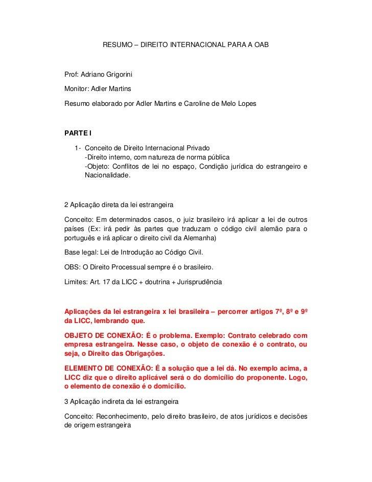 RESUMO – DIREITO INTERNACIONAL PARA A OABProf: Adriano GrigoriniMonitor: Adler MartinsResumo elaborado por Adler Martins e...