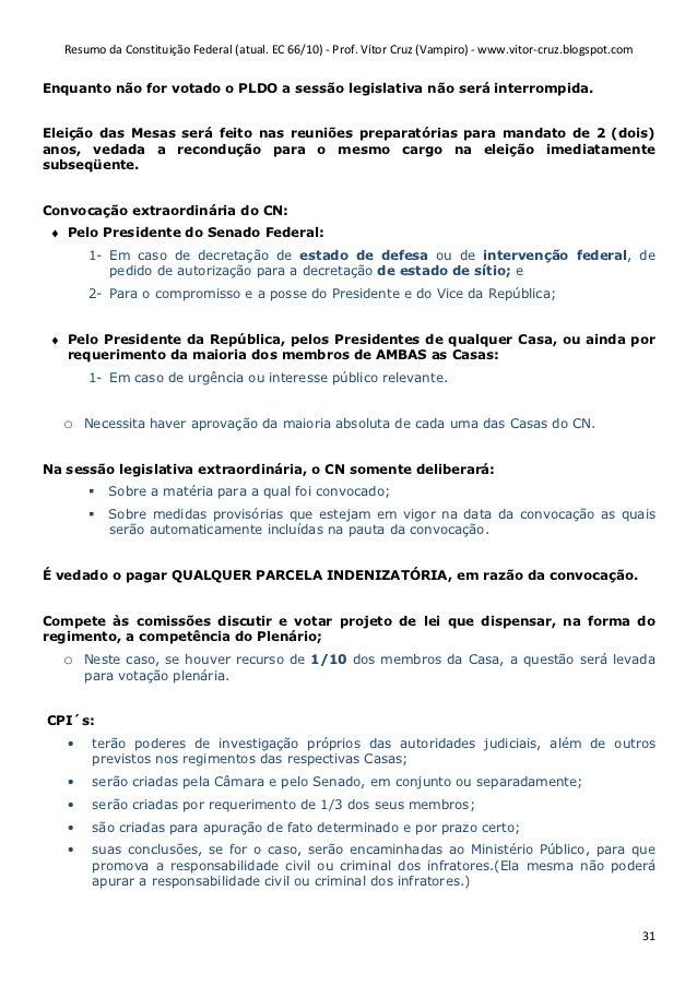 resumão da constituição federal 4 0reuniões preparatórias 30; 31 resumo da constituição federal