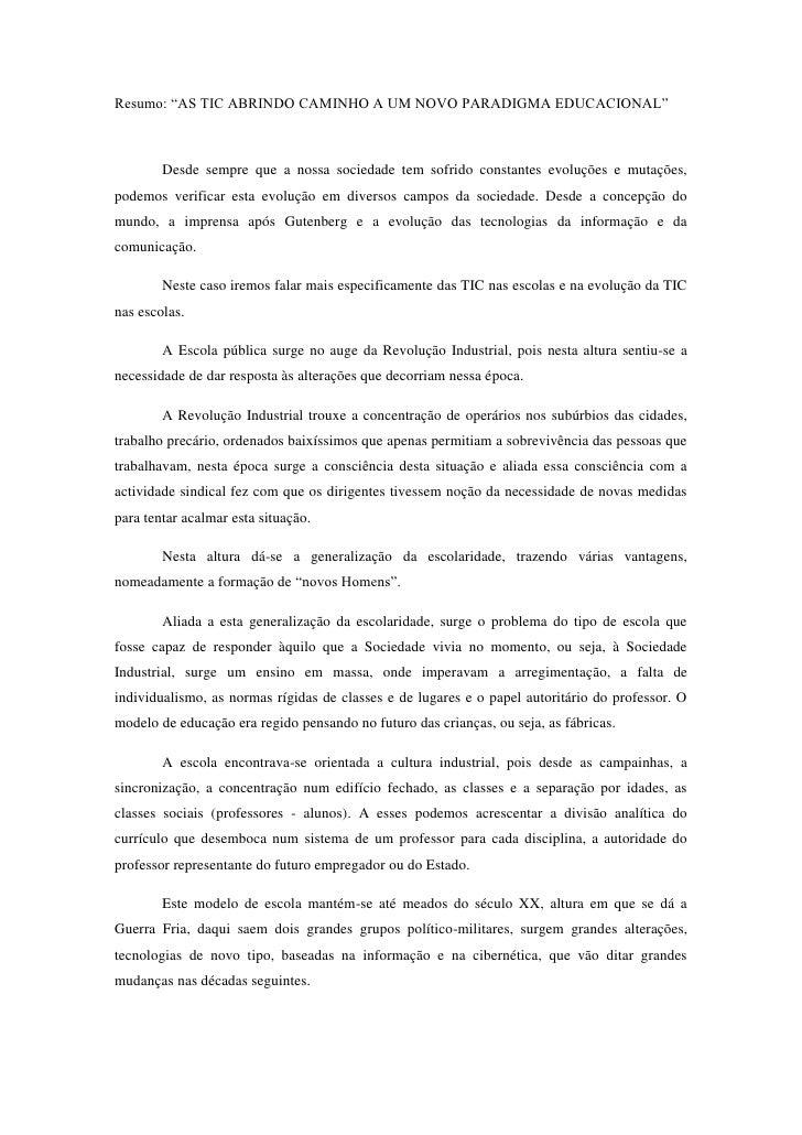 AS TIC ABRINDO CAMINHO A UM NOVO PARADIGMA EDUCACIONAL
