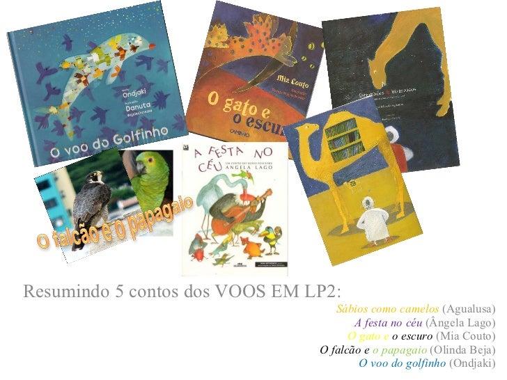 Resumindo 5 contos dos VOOS EM LP2: Sábios como camelos  (Agualusa) A festa no céu  (Ângela Lago) O gato e   o escuro  (Mi...