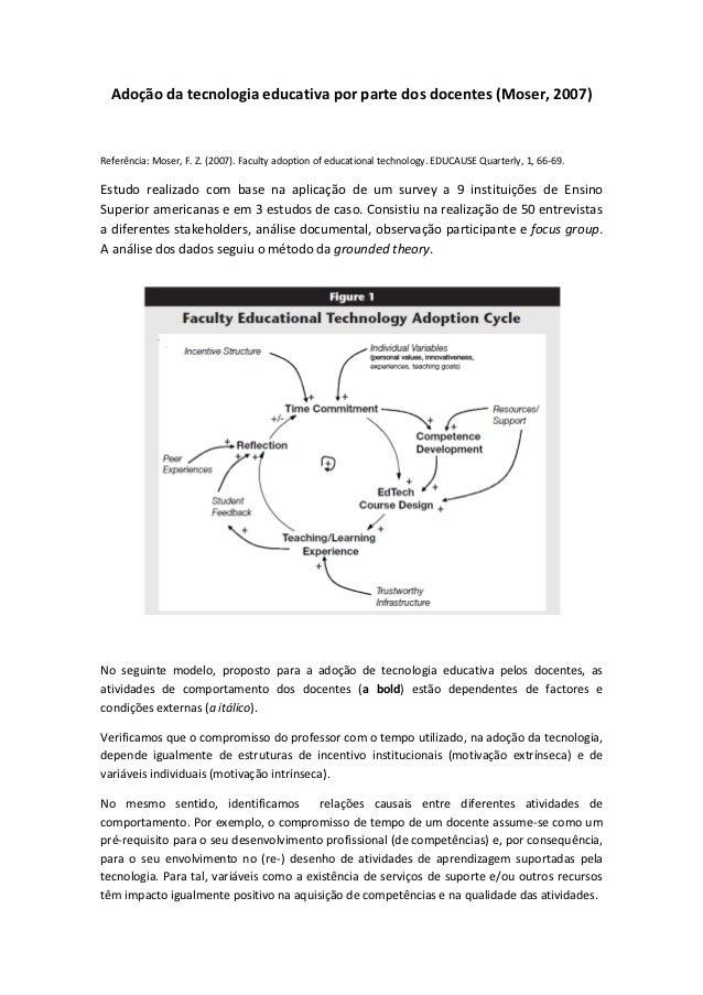 Adoção da tecnologia educativa por parte dos docentes (Moser, 2007)Referência: Moser, F. Z. (2007). Faculty adoption of ed...