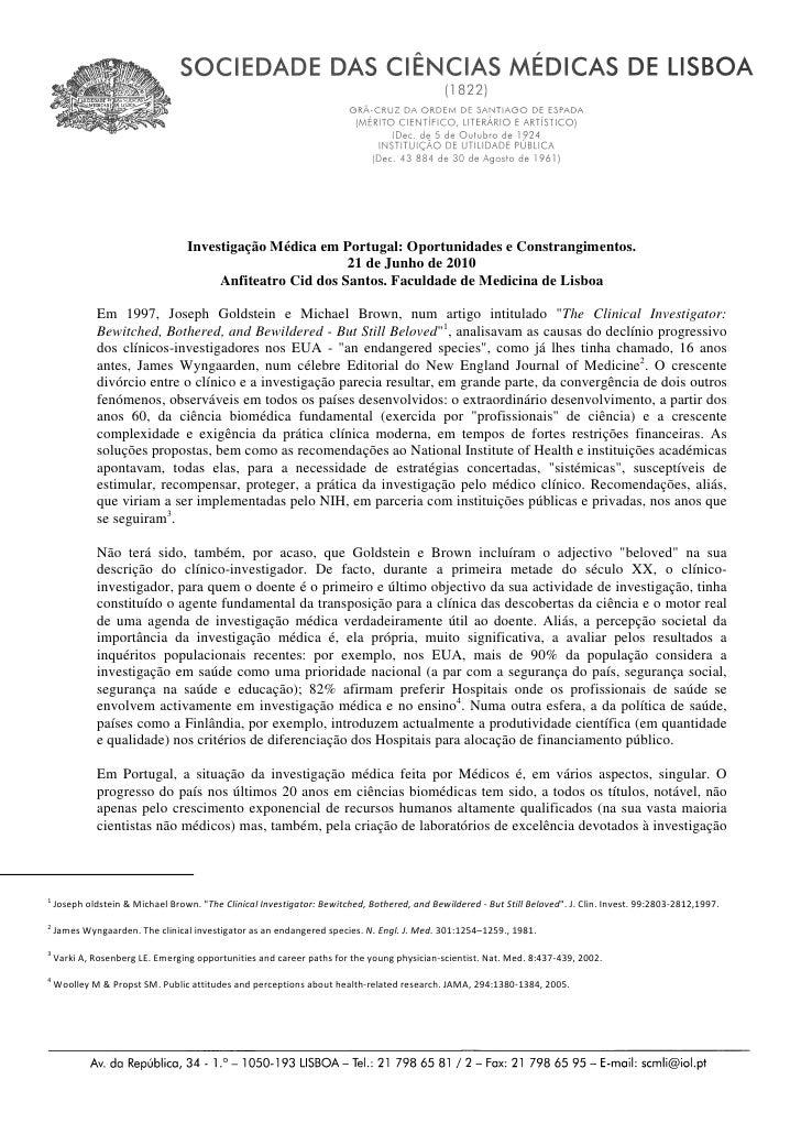 Investigação Médica em Portugal: Oportunidades e Constrangimentos.