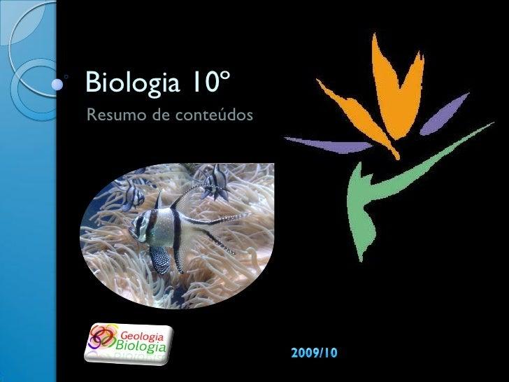 Biologia 10º Resumo de conteúdos