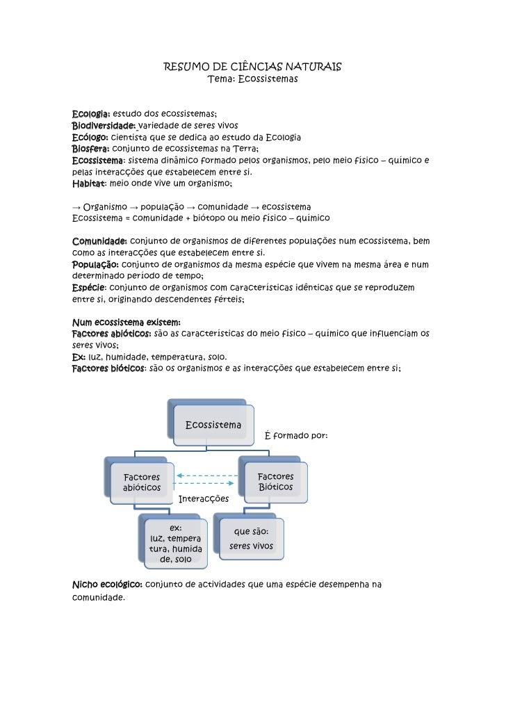RESUMO DE CIÊNCIAS NATURAIS<br />Tema: Ecossistemas<br />Ecologia: estudo dos ecossistemas;<br />Biodiversidade: variedade...