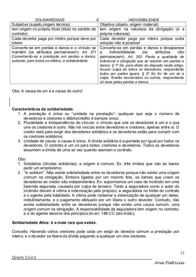 SOLIDARIEDADE  X  Subjetiva (sujeito,origem técnica) tem origem no próprio título (título no sentido de contrato) Cada dev...