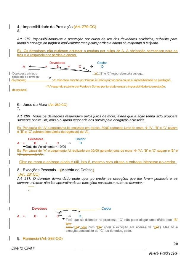 4. Impossibilidade da Prestação (Art. 279 CC) 5. Art. 279. Impossibilitando-se a prestação por culpa de um dos devedores s...