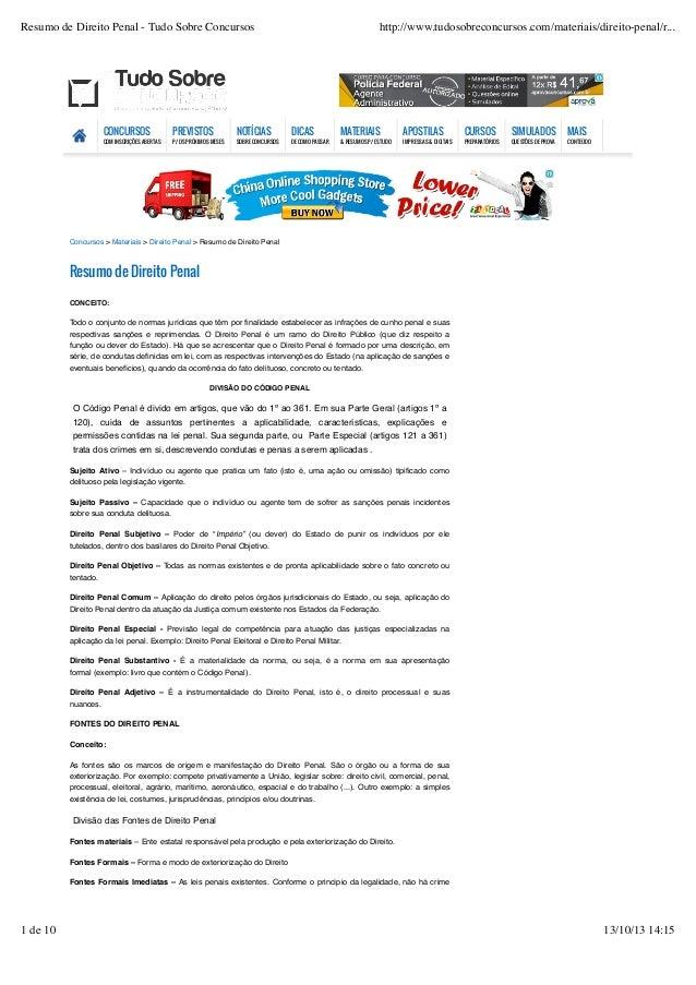 Resumo de Direito Penal - Tudo Sobre Concursos  http://www.tudosobreconcursos.com/materiais/direito-penal/r...  CONCURSOS ...
